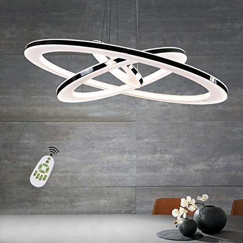 Lampada a sospensione ZMH Lampadario da Soffitto 64W Led 3-anello dimmerabile telecomando lampadario camera letto soggiorno soffitto lampada a sospensione lampadario