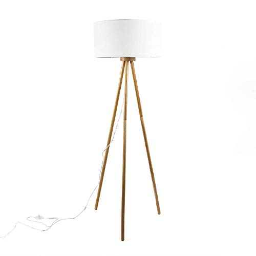 Lampada a stelo Flora, colore naturale, diametro 50 cm, paralume in tessuto, design scandinavo, lampada da terra smontabile