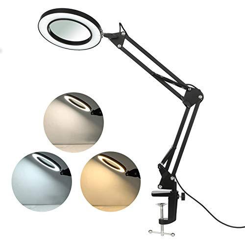 Lampada Con Lente D'ingrandimento 8X, Lampada da Scrivania con Pinza Lampada Estetista Lampada da Lavoro con Morsetto Regolazione Continua Modi di 3 Colori LT169