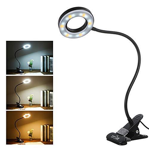 Lampada con Pinza,Tomshine lampada da scrivania a Clip con Collo Flessibile 18LED 3 Modalità di Colore 10 Luminosità Dimmerabile Lampada da Scrivania