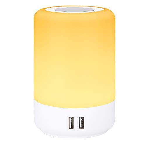 Lampada da comodino, caricatore usb multiplo, abat jour da comodino led, 4 porte di ricarica USB, smart touch luce bianca calda dimmerabile a 3 livelli e funzione RGB colori (EU plug)