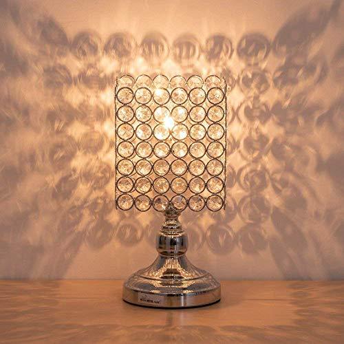 Lampada da comodino in cristallo, Lampada da tavolo moderna in cristallo K9 con struttura in metallo per camera da letto, soggiorno, sala da pranzo, argento