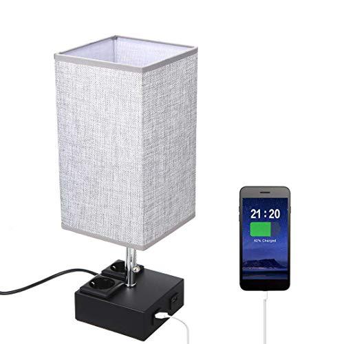 Lampada da Comodino, Lampada da Tavolo TOMSHOO Lampada da Tavolo Moderna a LED da Comodino con due Porte di Ricarica USB 2.1A e due Prese di Uscita per Ufficio Camera da Letto