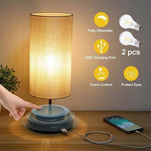 Lampada da Comodino LED con Sensore Touch - E27 Lampada da Tavolo Ricaricabile con Port di Ricarica USB, Dimmerabile e Funzione di Memoria Lampada Notturna per Camere(2 lampadine LED incluse)