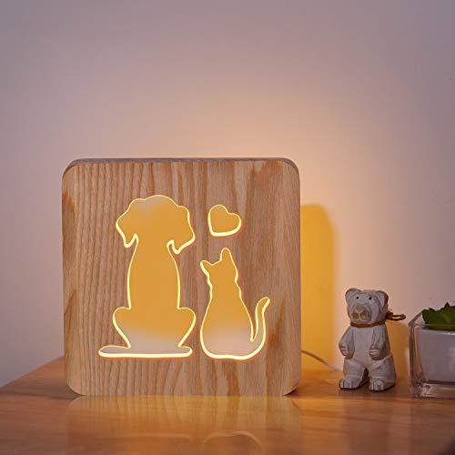 Lampada da comodino per cani e gatti, 3D carina animale LED luce notturna in legno, il miglior regalo per gli amanti degli animali domestici, la scrivania e la decorazione della stanza dei bambini