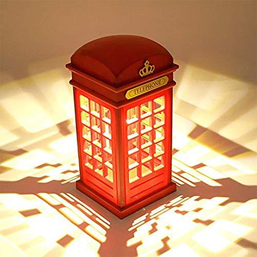 lampada da comodino,Lampada Notturna Cabina di Telefono di Londra Vintage,Touch Sensor tavolo Luminosità Regolabile,USB Ricarica(Con batteria) per Camera da Letto Dormitorio Bar camera decorazione.