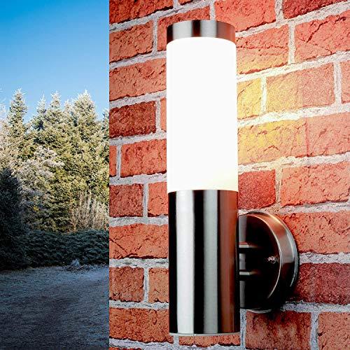 Lampada da esterno semplice in acciaio inox argento IP44 33cm Ø8cm, lampada da terrazzino da giardino applique a parete