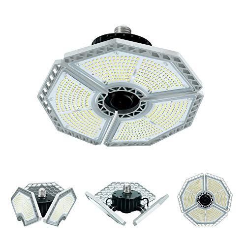 Lampada da Garage Regolabile 120W, Plafoniera LED a 3 Petali 13000LM, 6500K & E27, Illuminazione Deformabile per Officina, Magazzino, Granaio, Seminterrato, Ufficio, Stadio