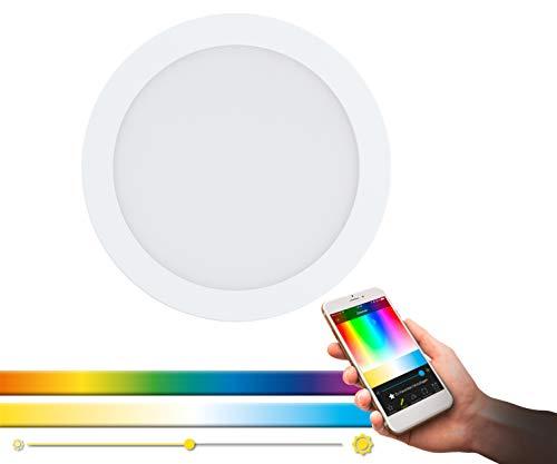 Lampada da incasso EGLO connect LED FUEVA-C, lampada da incasso Smart Home, materiale: metallo colato, plastica, colore: bianco, diametro: 22,5 cm, dimmerabile, tonalità di bianco e colori regolabili
