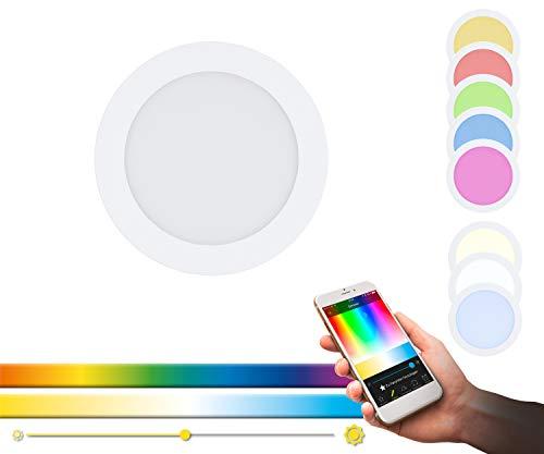 Lampada da incasso EGLO connect LED FUEVA-C, lampada da incasso Smart Home, materiale: metallo colato, plastica, colore: bianco, diametro: 17 cm, dimmerabile, tonalità di bianco e colori regolabili