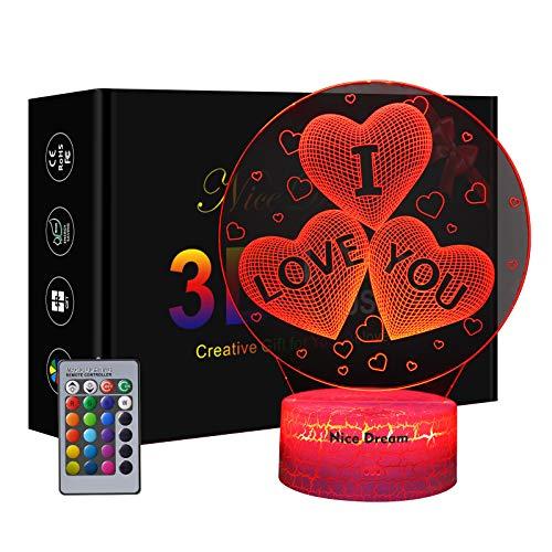 Lampada da notte 3D a forma di cuore per bambini e amanti, regali per San Valentino o compleanno, lampada da notte 3D Illusione ottica
