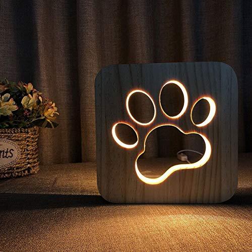 Lampada da notte a LED Lampada da notte per animali Lampada USB intagliata in legno Lampada da tavolo con stampa creativa della zampa Lampada da notte in legno Lampada 3D Lampada da notte per gatti
