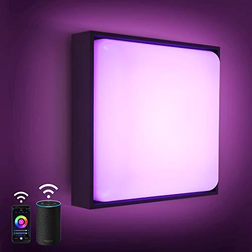 Lampada da parete a LED Smart Wifi, 8W 650lm RGB Lampada da parete a LED, controllabile tramite app IP54 plafoniere da soffitto bagno Compatibile con Amazon Alexa Adatto per interni ed esterni