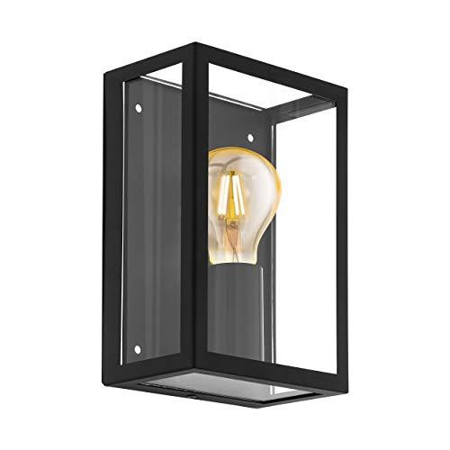 Lampada da parete da esterno EGLO ALAMONTE 1, lampada da esterno 1 punto luce, lampada da parete in acciaio zincato, colore: nero, vetro: trasparente, attacco: E27, IP44
