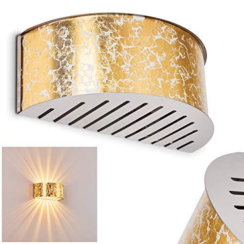 Lampada da parete Pesaro in vetro dorato - Applique murale di colore oro - Le fessure sul paralume creano un effetto luce sulla parete - Attacco 1 x E27