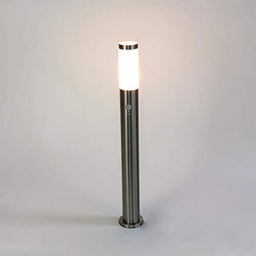 Lampada da percorso in acciaio inox sensore d'argento sensore di movimento Ø6cm H:80cm E27 IP44 illuminazione percorso del giardino