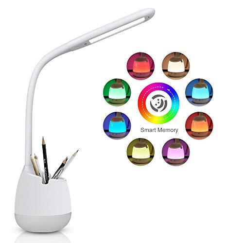 Lampada da scrivania a LED Bambini,3 Livelli di Luminosità,Lampada da Scrivania dimmerabile Touch Control con luce Notturna Colorata,porta di ricarica USB (Bianco)