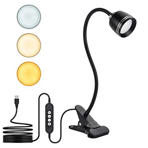 Lampada da scrivania a LED con clip, KEEHOM Lampada da lavoro USB da 7W con morsetto 3 modalità di illuminazione Lampada da lettura a luminosità regolabile