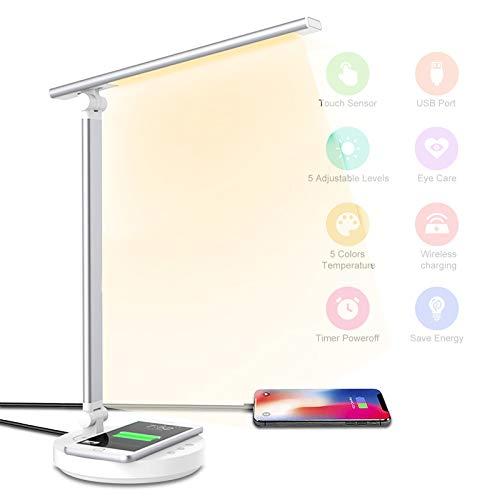 Lampada da Scrivania a LED con Ricarica Wireless e Porta di USB, lampada da tavolo con funzione di protezione degli occhi, 5 modalità di illuminazione 5 livelli di luminosità per Studio, Lettura