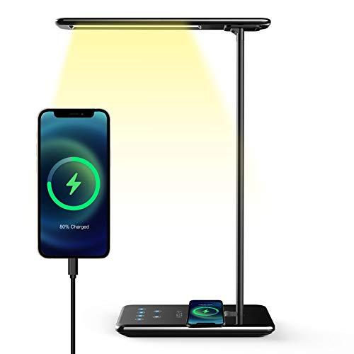 Lampada da Scrivania Aitech Lampada da Tavolo Occhi Cura Regolabile 5 Livelli per 5 Modalità di Illuminazione Desk Lamp Wireless Charger Timer Spegnimento Automatico Lampada da Lettura
