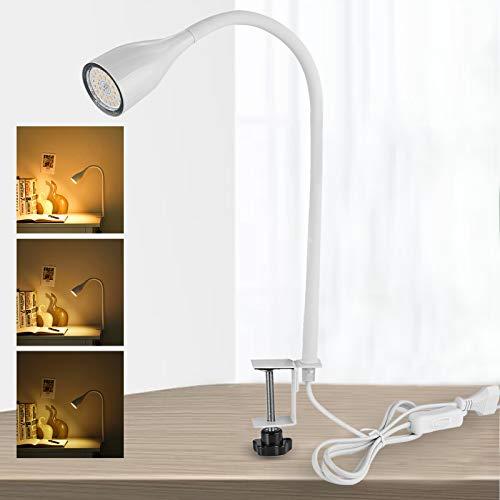 Lampada da Scrivania Bianca con Morsetto Dimmerabile, Lampada da Tavolo LED, inclusa Lampadina GU10 6W, 3 Livelli di Luminosità, Luce Calda 2800K, Lampada da Lettura Portatile per Libro/Lavoro/Letto