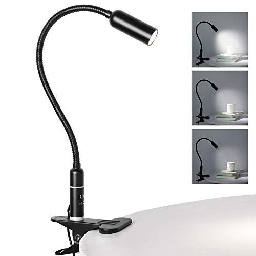 Lampada da Scrivania con Morsetto, 4W Lampada da Tavolo LED, Dimmerabile su 3 Livelli, con Controllo Touch, Lessibile, non Affatica gli Occhi, Lampada Letturaper scrivania, ufficio, camera da letto