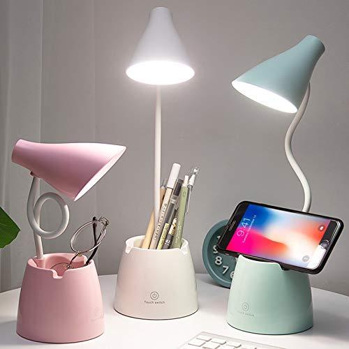 Lampada da Scrivania, Lampada da Tavolo LED Bambini con 3 Modalità di Illuminazione e Sensore Tattile, Dimmerabil Rotazione a 360 ° per Leggere, Studio, Lavorare (Verde)