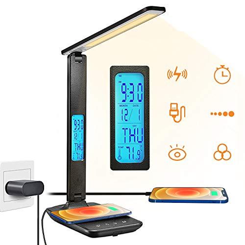 Lampada da Scrivania LED con Display LCD(Orario/Calendario/Termometro/Sveglia)Lampada da Tavolo con 3 Colori/5 Livelli di Luminosità,Lampada LED con 10W Caricatore Wireles,Lampada Tavolo Pieghevole