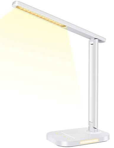Lampada da Scrivania LED con Luce Notturna, Lampada da Tavolo, 10 Luminosità & 5 Modalità di Illuminazione Lampada da Lettura con Porta di Ricarica USB & Timer per Lettura, Ufficio, Studio