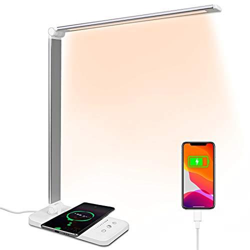 Lampada da scrivania LED con Ricarica Wireless Porta di USB lampada da tavolo con funzione di protezione degli occhi tocca controllo 5 modalità di illuminazione per Studio, Lettura, Cameretta