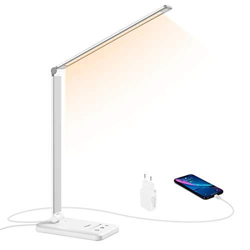 Lampada da Scrivania LED, Flauno Lampada da Tavolo con Porta di Ricarica USB, Controllo Touch, 10 livelli di luminosità e 5 Modalità di Illuminazione per Ufficio, Cameretta, Protezione degli Occhi