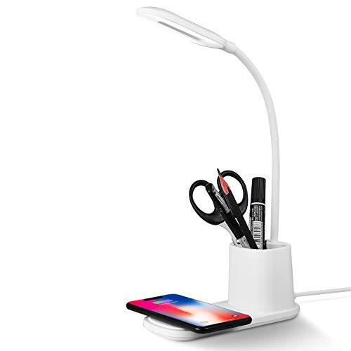 Lampada da Scrivania LED, Lampada da Tavolo con wireless Caricabatterie Dimmerabil Rotazione a 360 °, 3 Modalità Colore, Ricaricabile USB a Risparmio Energetico (bianco)