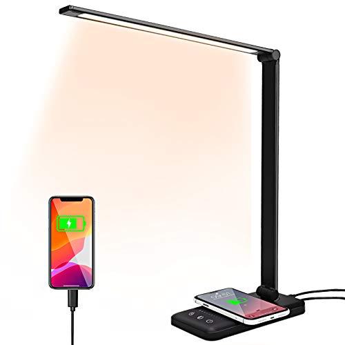 Lampada da Scrivania LED,Lampada da Tavolo con Ricarica Wireless,Lampada da Scrivania con Touch Control,10 Livelli di Luminosità 5 Modalità,Lampada Pieghevole Nera