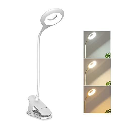 Lampada da Scrivania Ricaricabile Wireless a Pile, 28 Leds, 3W Lampada da Comodino Touch Dimmerabile senza Fili, 3 Colore e 3 Luminosità, Flessibile Lampada da Tavolo con Morsetto Bambini, Bianco