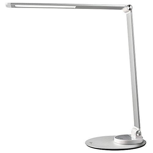 Lampada da Scrivania TaoTronics, Lampada da Tavolo Ufficio LED 12W con 6 Luminosità + 3 Temperature di Colore, Porta di Ricarica USB per Smartphone, LED Occhi-Cura, Funzione Memoria - Argento