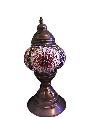 Lampada da scrivania Turca | Lampada da comodino vintage per camera da letto | Diversi colori: mosaico vetro base bronzo marrone + lampadina in omaggio (rosso)