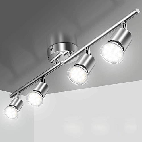 Lampada da Soffitto a LED con 4 Faretti Elfeland Soffitto Orientabili GU10 Orientabili per Interni 230W Metarial Ferro e Cromo Lampada da Soffitto con Faretti Rotanti per Soggiorno e camera da letto