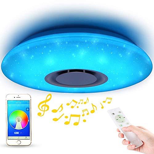 Lampada da soffitto a LED con telecomando, dimmerabile, con altoparlante Bluetooth, 36 W, Wifi con Amazon Alexa per camera da letto