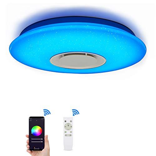 Lampada da soffitto con Alexa Smart WiFi, con telecomando, dimmerabile, cambia colore, cielo stellato, lampada da soffitto con altoparlante Bluetooth, compatibile con Amazon Alexa