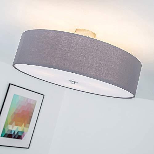 Lampada da soffitto moderna con paralume in tessuto, 3 fiamme, Ø 60 cm, 3x E27 max. 60W, Metallo/Tessile, grigio scuro
