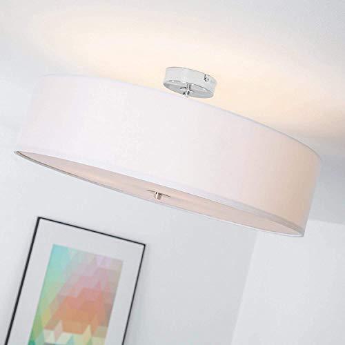 Lampada da soffitto moderna con paralume in tessuto, 3 fiamme, Ø 60 cm, 3x E27 max. 60W, metallo/tessile, cromo/bianco
