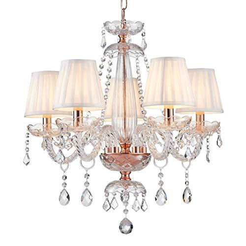 Lampada da soffitto moderna in vetro cristallo Saint Mossi con 5 lampadine e finiture in tessuto oro rosa base E14