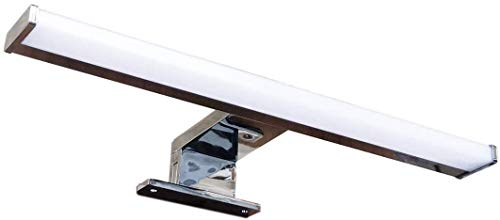 Lampada da Specchio LED per Bagno PHOENIX – 50CM, 5.5W, 550LM, 220V, 4000K, ALLUMINIO, IP44 Classe II, non dimmerabile, Installazione specchio e telaio, luce naturale, 500 mm (Profilo Cromato)