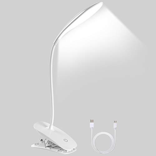 Lampada da Tavolo 20 LED Clip, URAQT Lampada Lettura con Pinza, Lampada Flessibile USB Ricaricabile, 3 Intensità di Luce Regolabili, per Stanza Ufficio Lettura Lavoro