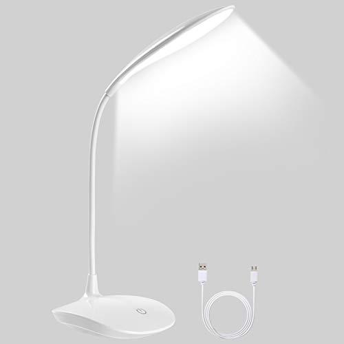 Lampada da Tavolo 20 LED, URAQT LED Luce di Lettura USB Ricaricabile, Pieghevole Tocco-Controllo Lampade, 3 Intensità di Luce Regolabili, per Stanza Ufficio Lettura Lavoro