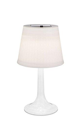 Lampada da tavolo a LED a energia solare, per esterni, illuminazione per aiuole, paralume bianco (con interruttore, lampada solare, lampada da tavolo)