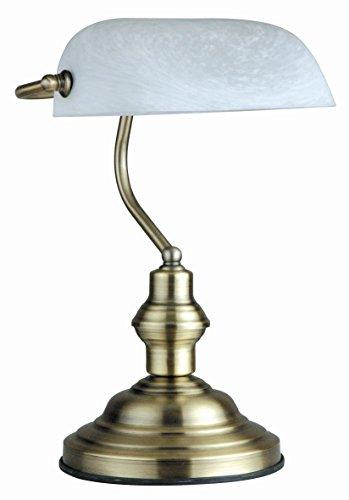 LAMPADA DA TAVOLO BANCHIERE OTTONE ANTICATO VETRO ALABASTRO 1X60W E27 Art. 2492
