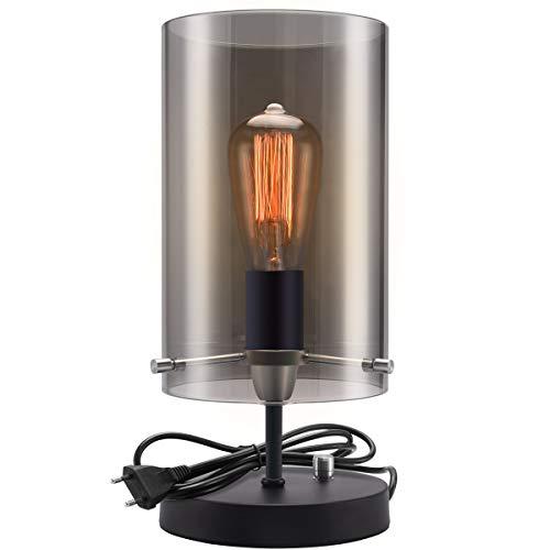 Lampada da tavolo con paralume in vetro grigio fumo, lampada da comodino moderna da comodino, lampada da scrivania semplice per soggiorno camera da letto, base cilindrica nera (lampadina non inclusa)
