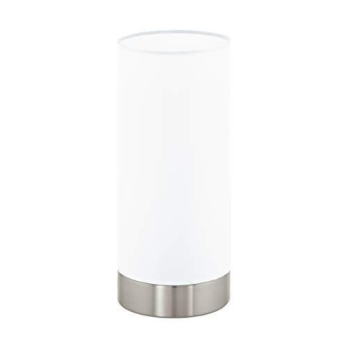 Lampada da tavolo EGLO DAMASCO 1, lampada da tavolo 1 punto luce, lampada da comodino in acciaio, colore: nichel opaco, vetro: satinato, bianco, attacco: E27, interruttore incl.