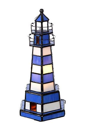 Lampada da tavolo in stile Tiffany (blu-bianco)